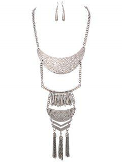 Hammered Tassel Necklace And Earrings - Silver