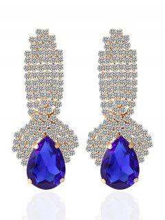Rhinestoned Faux Crystal Drop Earrings - Blue