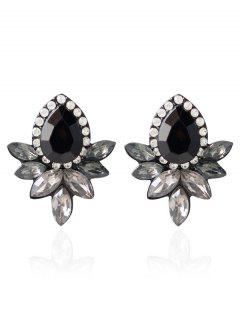 Water Drop Rhinestone Artificial Crystal Earrings - Black