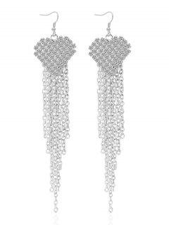Rhinestone Heart Tassel Chains Earrings - Silver