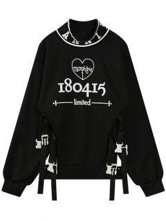 Letter Print Cutout Sweatshirt - Black