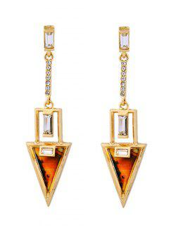Triangle Rhinestone Drop Earrings - Golden