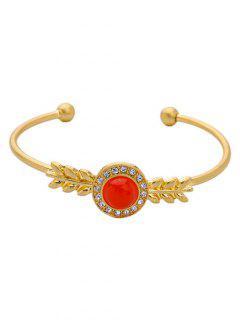 Faux Gem Rhinestone Cuff Bracelet - Golden