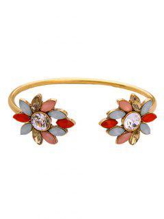 Rhinestone Flower Cuff Bracelet - Golden