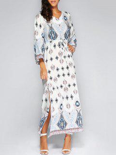 Manches Longues Maxi Robe Bohème - Blanc S