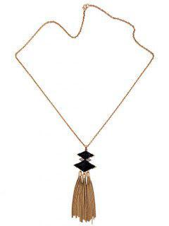 Rhombus Tassel Necklace - Golden
