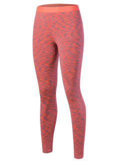 Marled Leggings - Orange Red M
