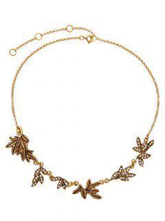 Collar De La Hoja Rama Del Rhinestone - Dorado