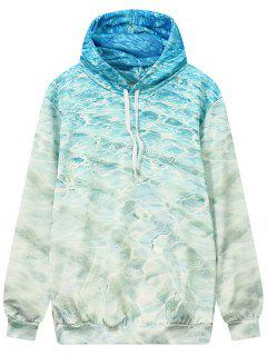Wave Pattern Front Pocket Outerwear Hoodie - Ocean Blue L