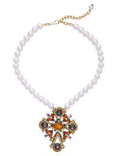 Cross Faux Pearl Bead Necklace - White