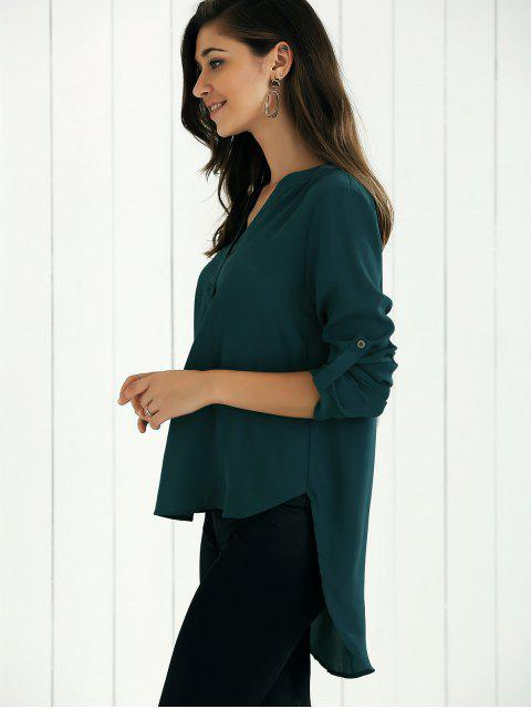 outfits High Low Chiffon Top - BLACKISH GREEN S Mobile