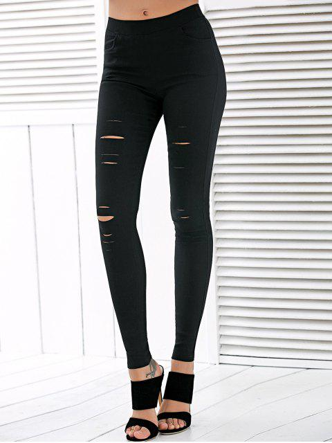 women High Waisted Ripped Leggings - BLACK XL Mobile