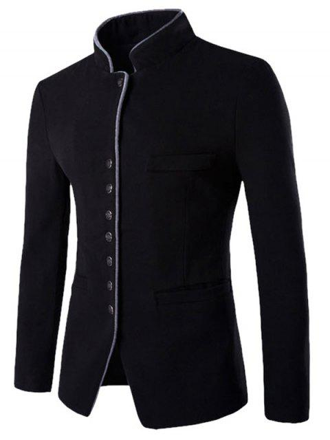 women Slim Button Through Faux Wool Men Blazer -   Mobile