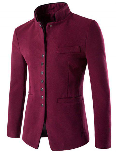 womens Slim Button Through Faux Wool Men Blazer -   Mobile