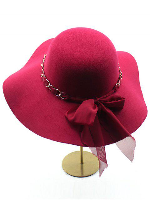 fashion Bowknot Floppy Wool Fedora Hat - CLARET  Mobile