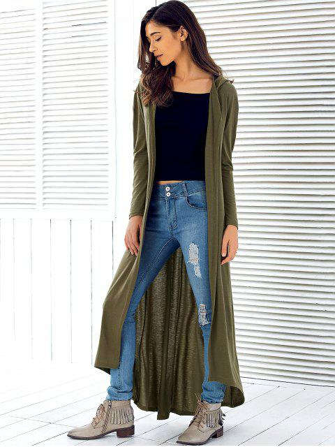ladies Hooded Maxi Long Duster Cardigan - ARMY GREEN M Mobile