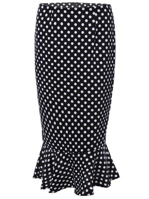 latest High Waisted Polka Dot Mermaid Skirt - BLACK M Mobile