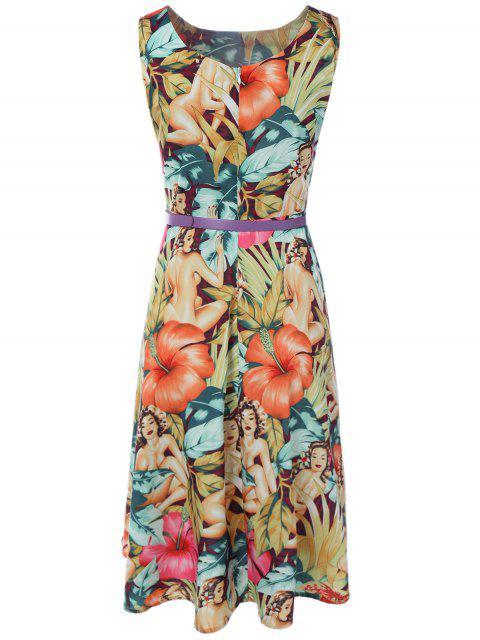 new Vintage Round Neck Printed Dress - MULTI S Mobile