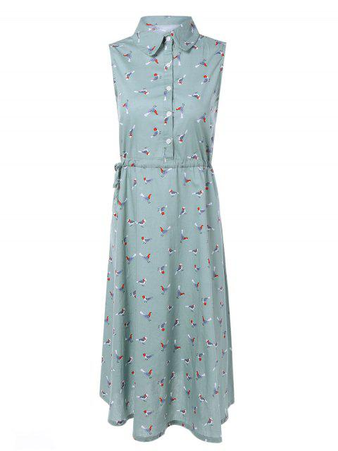 womens Drawstring Sleeveless Bird Print Shirt Dress - LIGHT BLUE 2XL Mobile