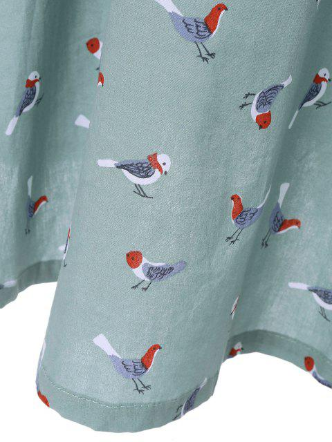 women's Drawstring Sleeveless Bird Print Shirt Dress - LIGHT BLUE M Mobile