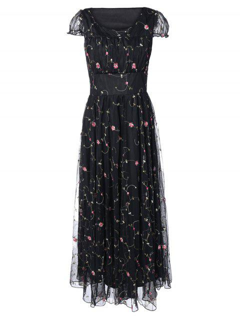 trendy Floral Embroidered Gauze Maxi Wedding Guest Dress - BLACK L Mobile