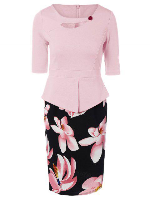 outfits Half Sleeve Floral Print Spliced Sheath Dress - PINK 4XL Mobile