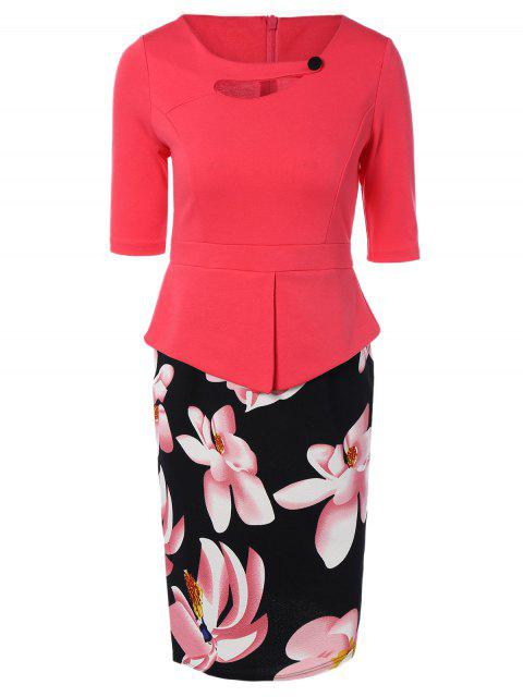 chic Half Sleeve Floral Print Spliced Sheath Dress - WATERMELON RED 2XL Mobile