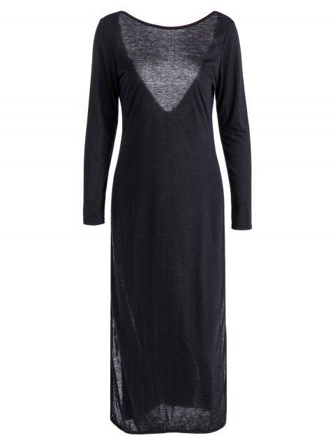 chic Back Low Cut Long Sleeve High Slit Dress - BLACK XL Mobile