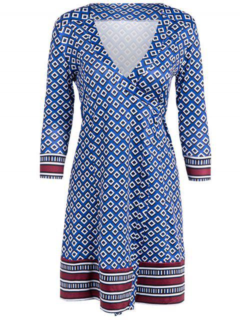 lady V Neck Long Sleeve Printed Wrap Dress - BLUE ONE SIZE Mobile