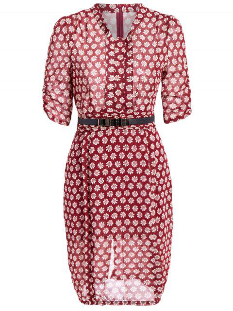 sale V Neck Daisy Print Chiffon Pencil Dress - WINE RED XL Mobile