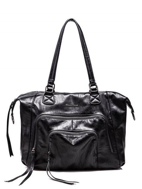 outfits Zippers Stitching PU Leather Shoulder Bag - BLACK  Mobile