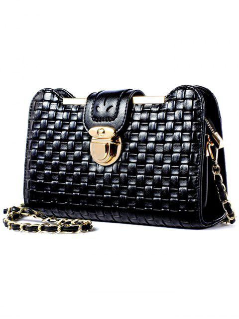shop Weave Chain PU Leather Crossbody Bag - BLACK  Mobile