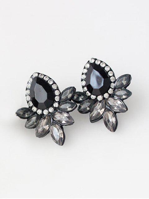 Boucles d'oreilles en cristal artificiel embelli goutte d'eau de bijoux faux - Noir  Mobile