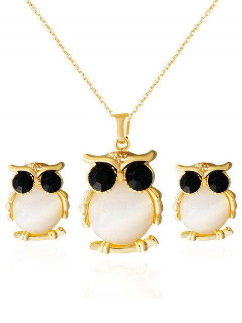 latest Owl Shape Faux Opal Jewelry Set - GOLDEN  Mobile