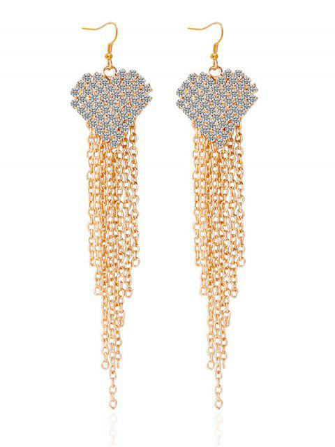 outfits Rhinestone Heart Tassel Chains Earrings -   Mobile