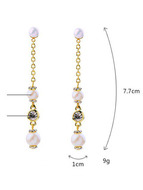 sale Faux Pearl Long Earrings - GOLDEN  Mobile
