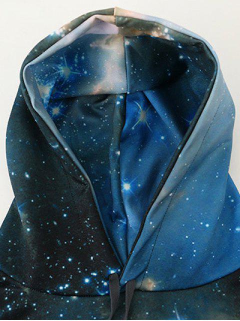 fashion Drawstring Front Pocket Galaxy Hoodie - MULTI L Mobile