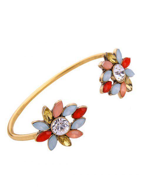 online Rhinestone Flower Cuff Bracelet - GOLDEN  Mobile