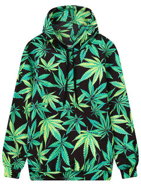 lady Leaf Print Front Pocket Outerwear Hoodie - BLACK AND GREEN M Mobile