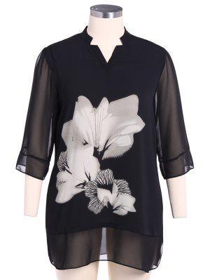 Tenez-Neck 3/4 Robe à Fleurs Manches - Blanc Et Noir 2xl