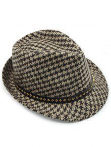 ... Houndstooth Keep Warm Wool Belt Buckle Rivets Jazz Hat