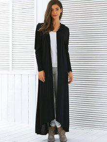 03ea30b0d6a 35% OFF  2019 Hooded Maxi Long Duster Cardigan In BLACK