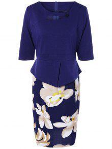 Half Floral Manches Imprimer épissage Robe Fourreau - Bleu Violet Xl