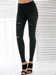 Talle Alto Ripped Leggings - Negro L