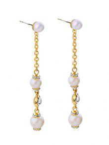 Faux Pearl Long Earrings - Golden