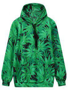 Front Pocket Leaf Print Hoodie - Green M