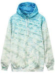 Wave Pattern Front Pocket Outerwear Hoodie - Ocean Blue L