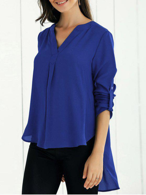 trendy High Low Chiffon Top - SAPPHIRE BLUE S