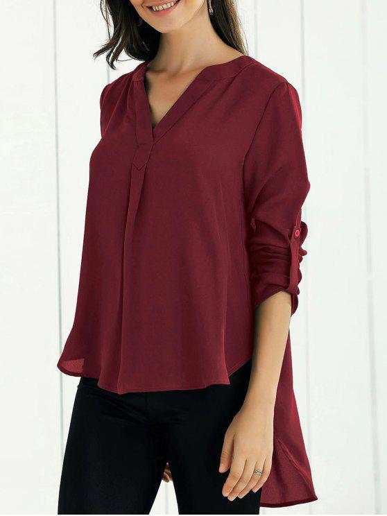 chic High Low Chiffon Top - WINE RED L