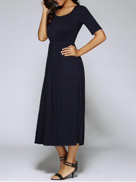 Vestido Altura Cintura Plisado Corte A - Negro S